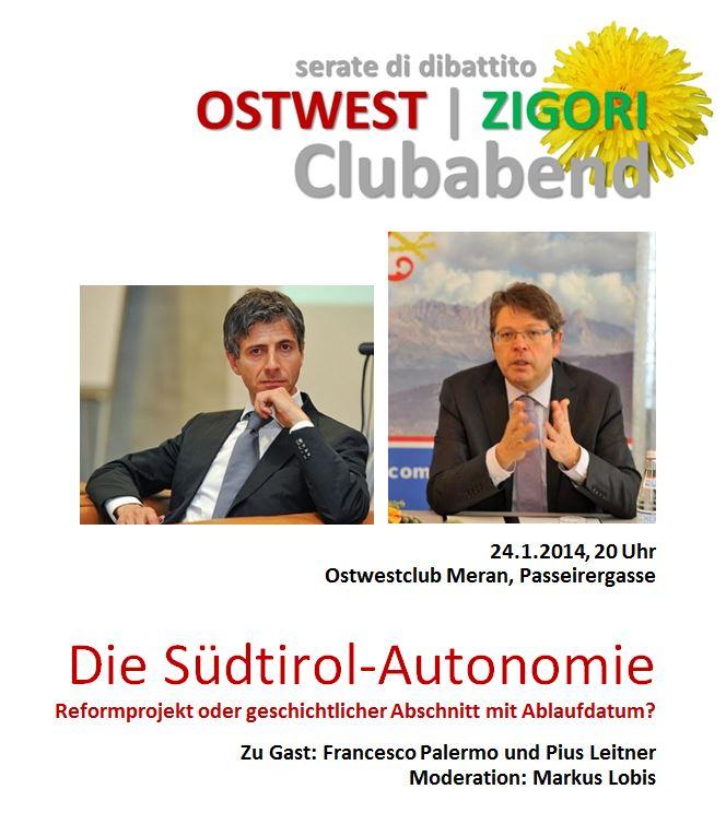 Ostwest   Zigori: Clubabend um 20 Uhr – Serata di dibattito alle ore 20 ->Meran/o