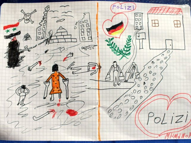 Profughi in Baviera: disegno di un bambino siriano, Foto: Bundespolizei/dpa