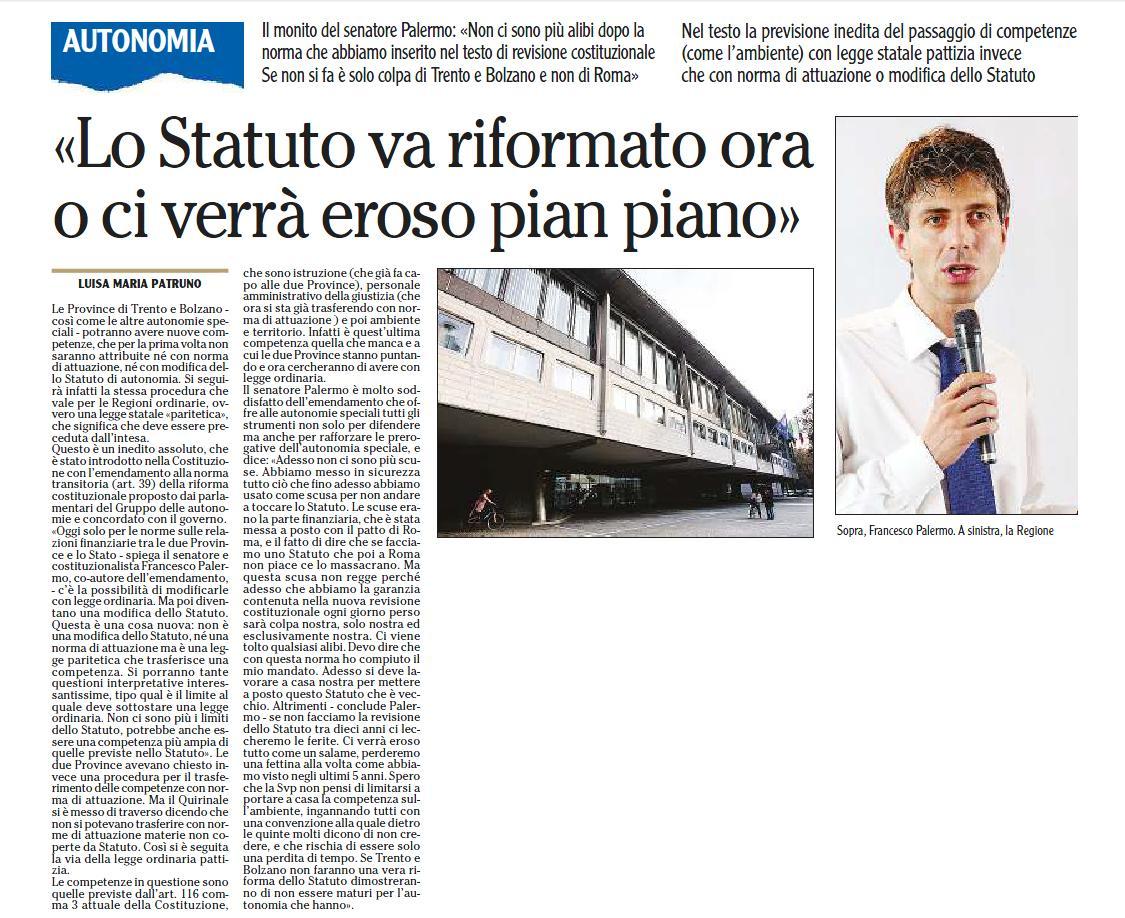 """""""Lo Statuto va riformato ora o ci verrà eroso pian piano"""". L'Adige, 13/10/2015, p.15"""